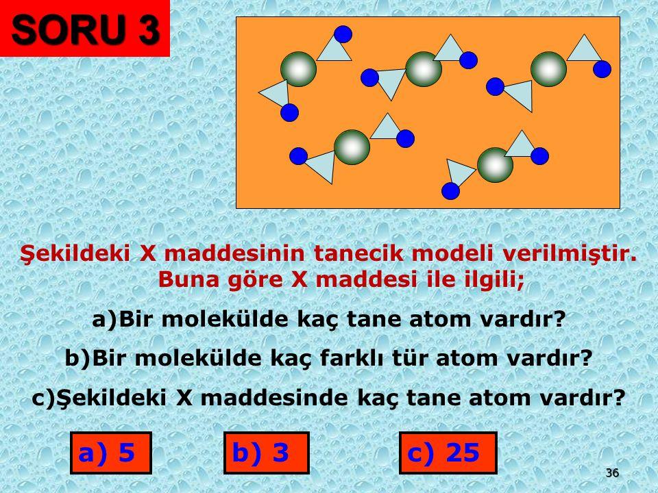 SORU 3 Şekildeki X maddesinin tanecik modeli verilmiştir. Buna göre X maddesi ile ilgili; Bir molekülde kaç tane atom vardır