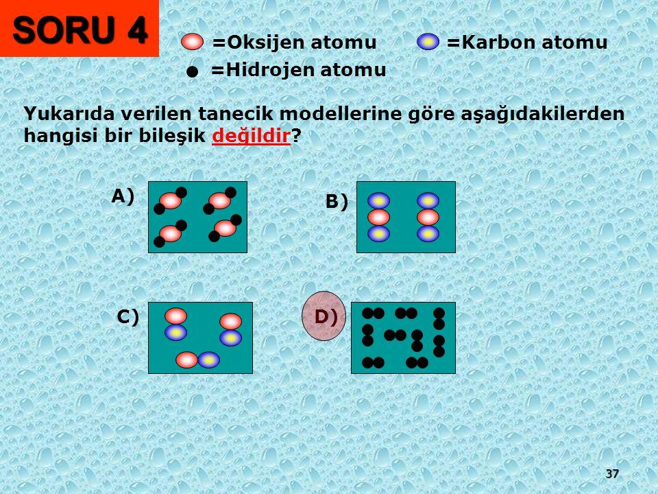 SORU 4 =Oksijen atomu =Karbon atomu =Hidrojen atomu