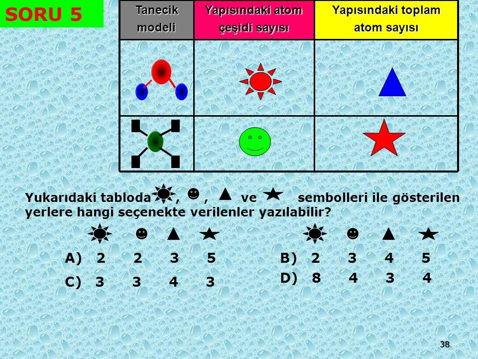 SORU 5 A) 2 2 3 5 B) 2 3 4 5 D) 8 4 3 4 C) 3 3 4 3 Tanecik modeli