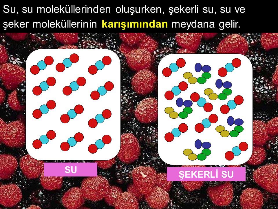 Su, su moleküllerinden oluşurken, şekerli su, su ve şeker moleküllerinin karışımından meydana gelir.