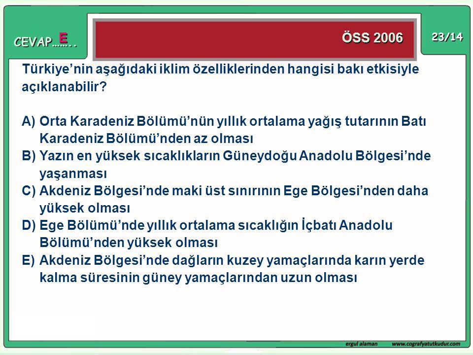 Türkiye'nin aşağıdaki iklim özelliklerinden hangisi bakı etkisiyle
