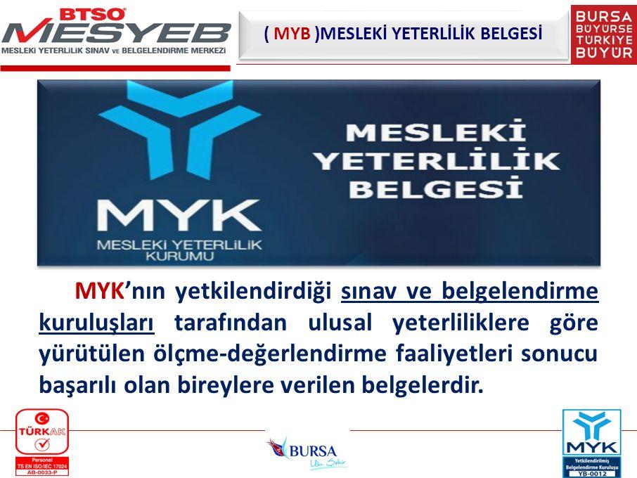 ( MYB )MESLEKİ YETERLİLİK BELGESİ