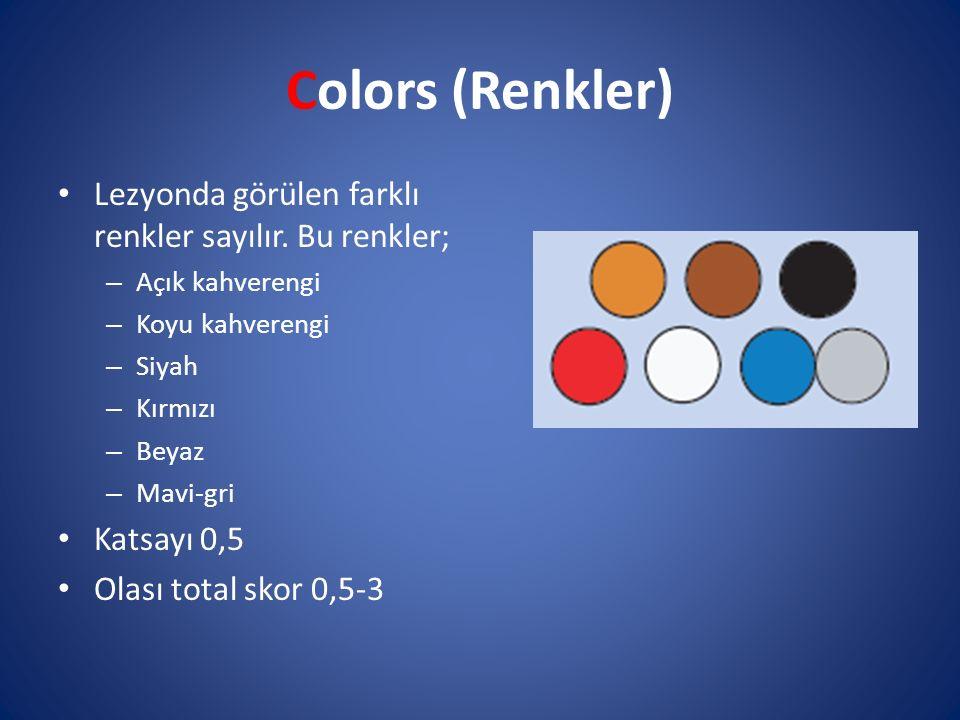 Colors (Renkler) Lezyonda görülen farklı renkler sayılır. Bu renkler;