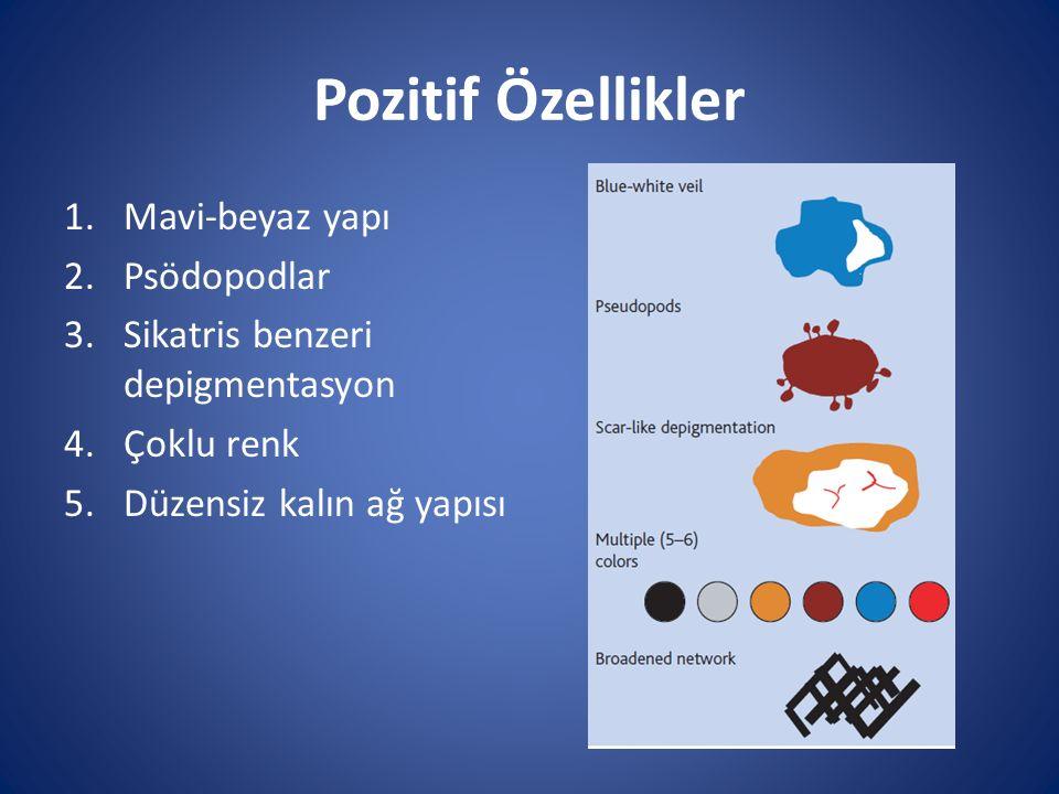 Pozitif Özellikler Mavi-beyaz yapı Psödopodlar