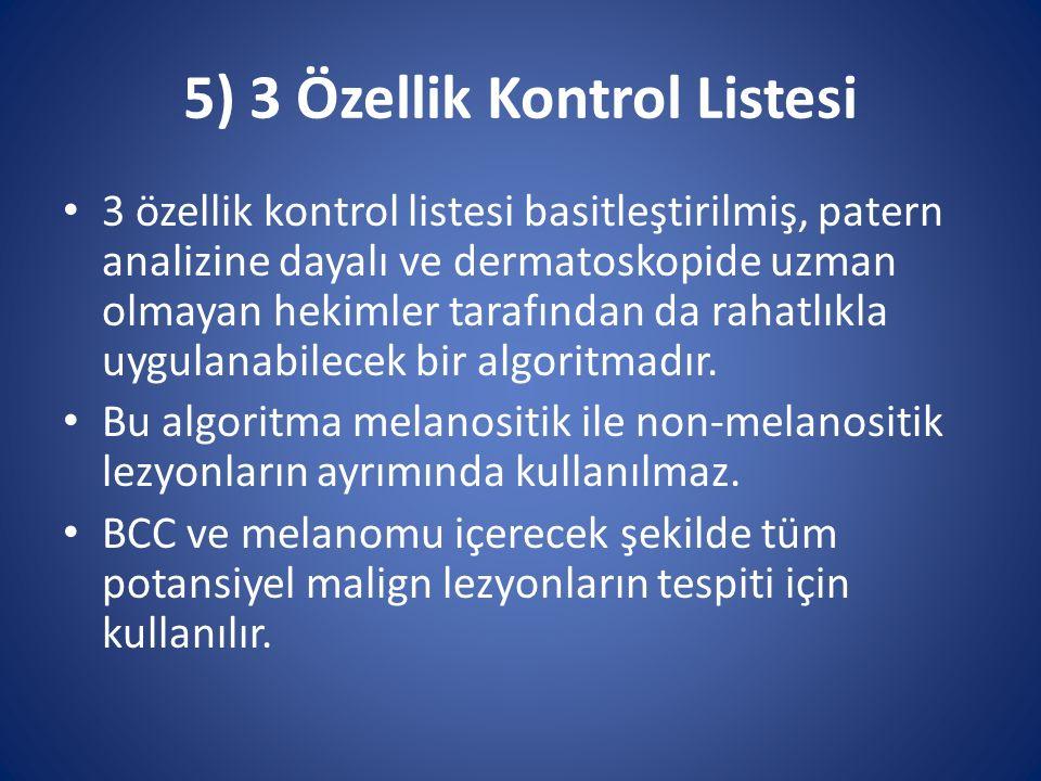 5) 3 Özellik Kontrol Listesi