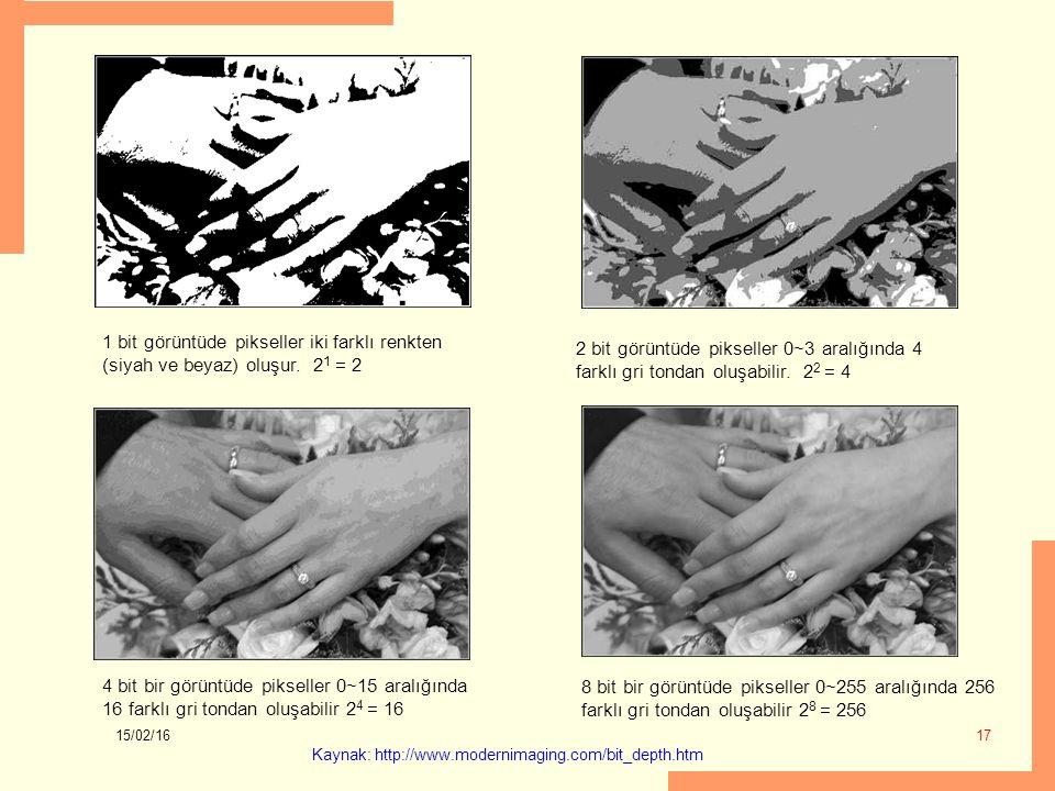 1 bit görüntüde pikseller iki farklı renkten (siyah ve beyaz) oluşur