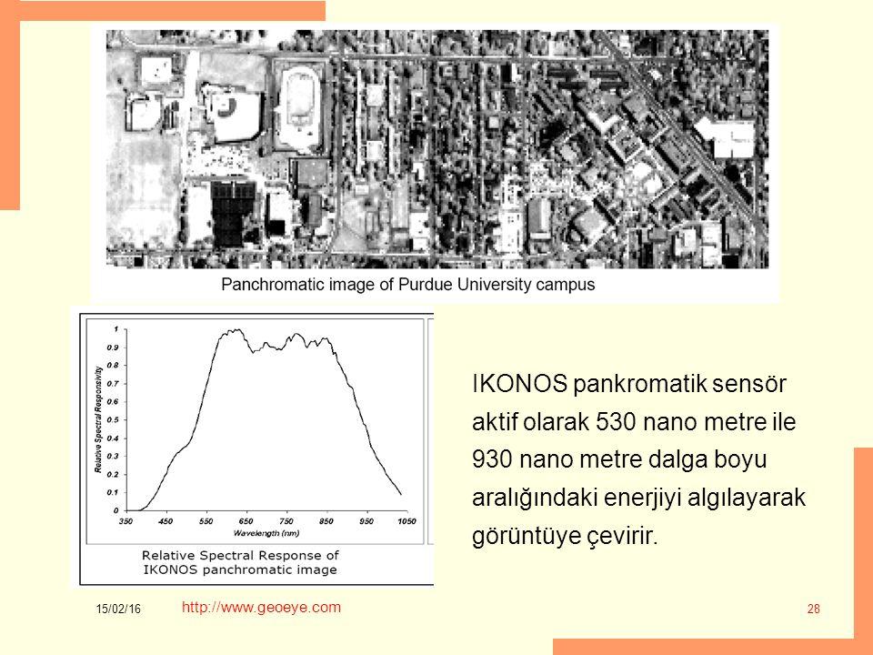 IKONOS pankromatik sensör aktif olarak 530 nano metre ile 930 nano metre dalga boyu aralığındaki enerjiyi algılayarak görüntüye çevirir.