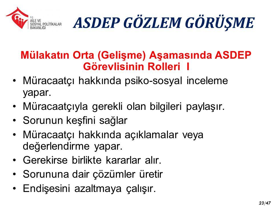 Mülakatın Orta (Gelişme) Aşamasında ASDEP Görevlisinin Rolleri I