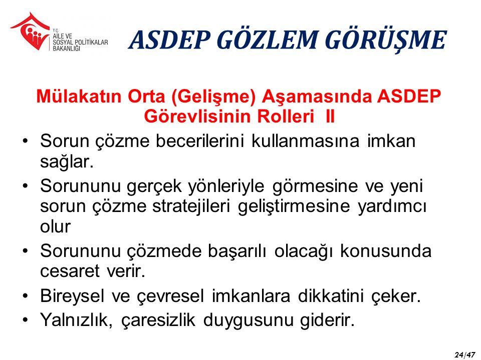 Mülakatın Orta (Gelişme) Aşamasında ASDEP Görevlisinin Rolleri II