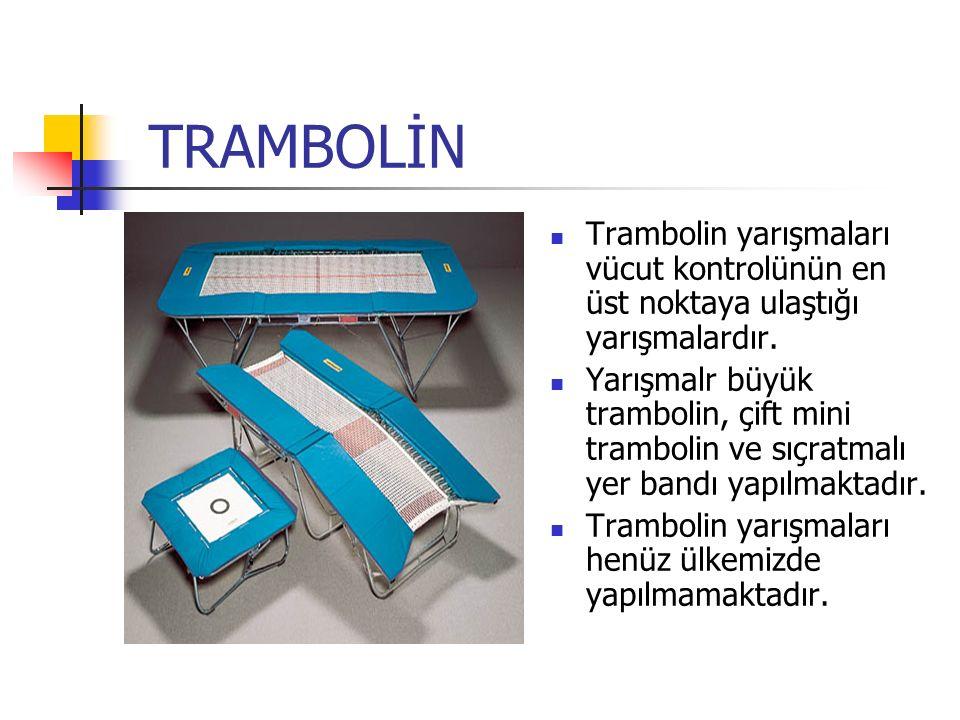 TRAMBOLİN Trambolin yarışmaları vücut kontrolünün en üst noktaya ulaştığı yarışmalardır.