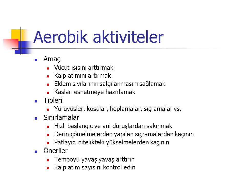 Aerobik aktiviteler Amaç Tipleri Sınırlamalar Öneriler