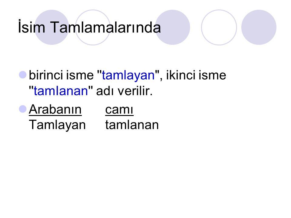 İsim Tamlamalarında birinci isme tamlayan , ikinci isme tamIanan adı verilir.