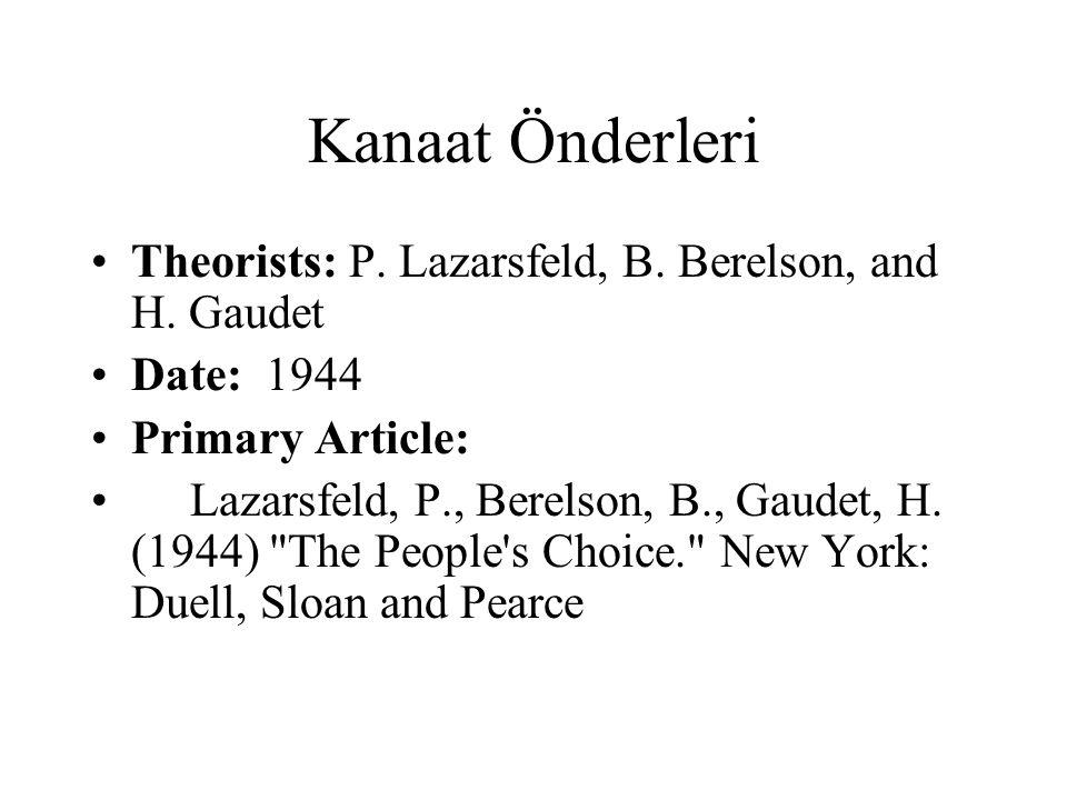Kanaat Önderleri Theorists: P. Lazarsfeld, B. Berelson, and H. Gaudet
