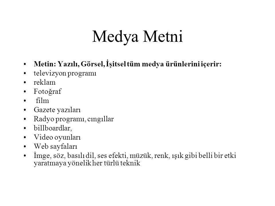 Medya Metni Metin: Yazılı, Görsel, İşitsel tüm medya ürünlerini içerir: televizyon programı. reklam.