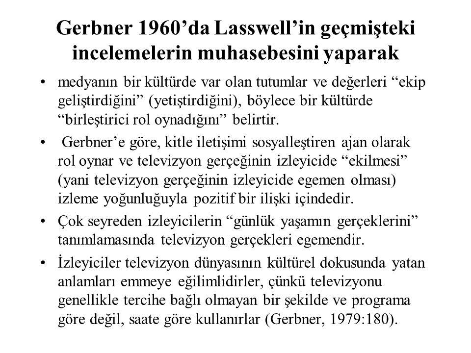 Gerbner 1960'da Lasswell'in geçmişteki incelemelerin muhasebesini yaparak