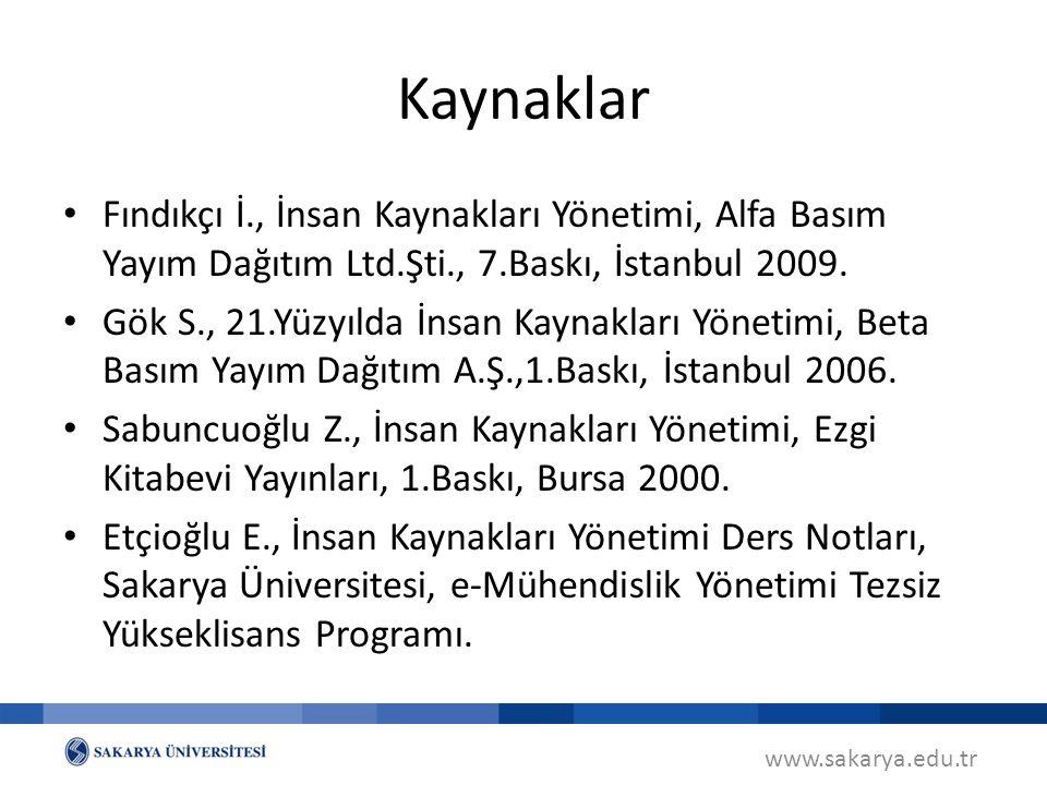 Kaynaklar Fındıkçı İ., İnsan Kaynakları Yönetimi, Alfa Basım Yayım Dağıtım Ltd.Şti., 7.Baskı, İstanbul 2009.