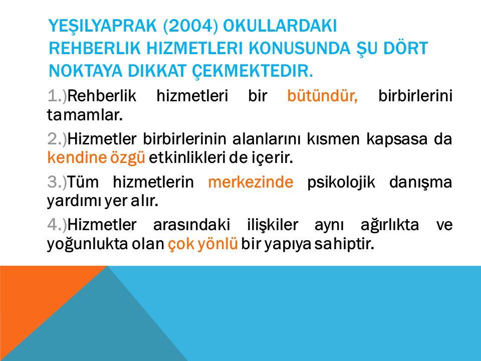 Yeşilyaprak (2004) okullardaki rehberlik hizmetleri konusunda şu dört noktaya dikkat çekmektedir.