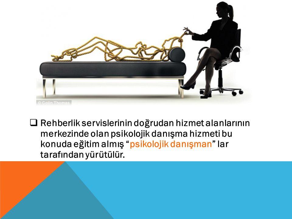 Rehberlik servislerinin doğrudan hizmet alanlarının merkezinde olan psikolojik danışma hizmeti bu konuda eğitim almış psikolojik danışman lar tarafından yürütülür.
