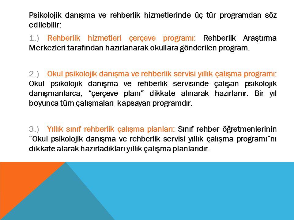 Psikolojik danışma ve rehberlik hizmetlerinde üç tür programdan söz edilebilir: 1.) Rehberlik hizmetleri çerçeve programı: Rehberlik Araştırma Merkezleri tarafından hazırlanarak okullara gönderilen program.