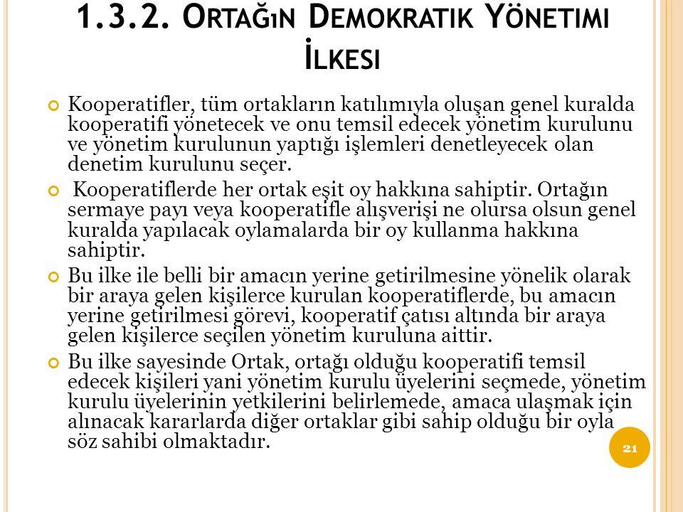 1.3.2. Ortağın Demokratik Yönetimi İlkesi