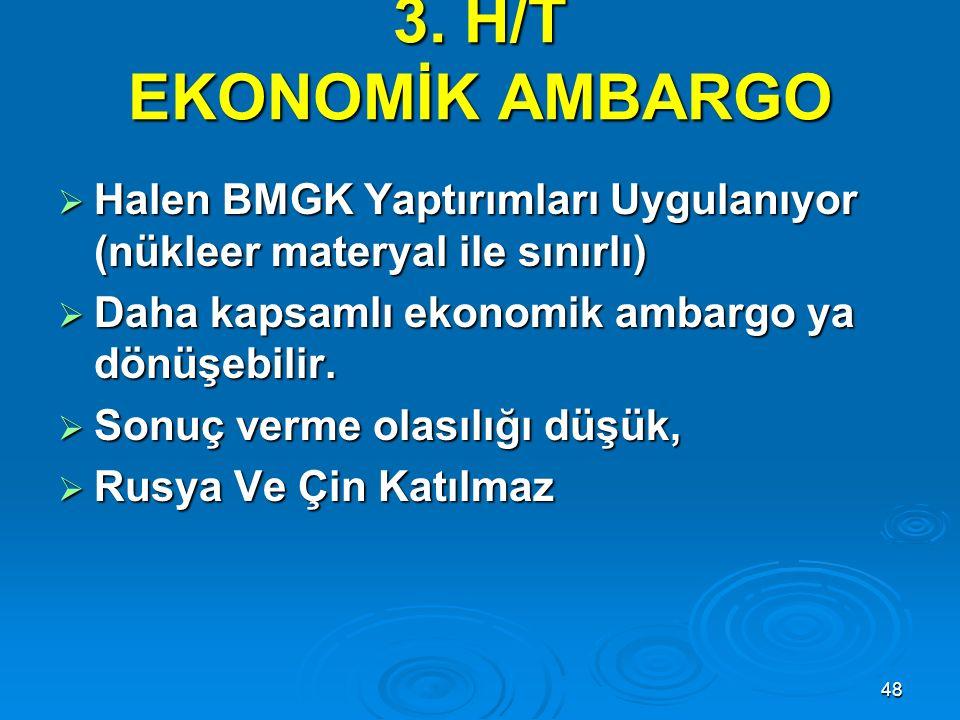 3. H/T EKONOMİK AMBARGO Halen BMGK Yaptırımları Uygulanıyor (nükleer materyal ile sınırlı) Daha kapsamlı ekonomik ambargo ya dönüşebilir.