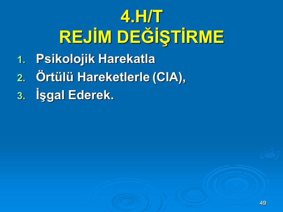 4.H/T REJİM DEĞİŞTİRME Psikolojik Harekatla Örtülü Hareketlerle (CIA),
