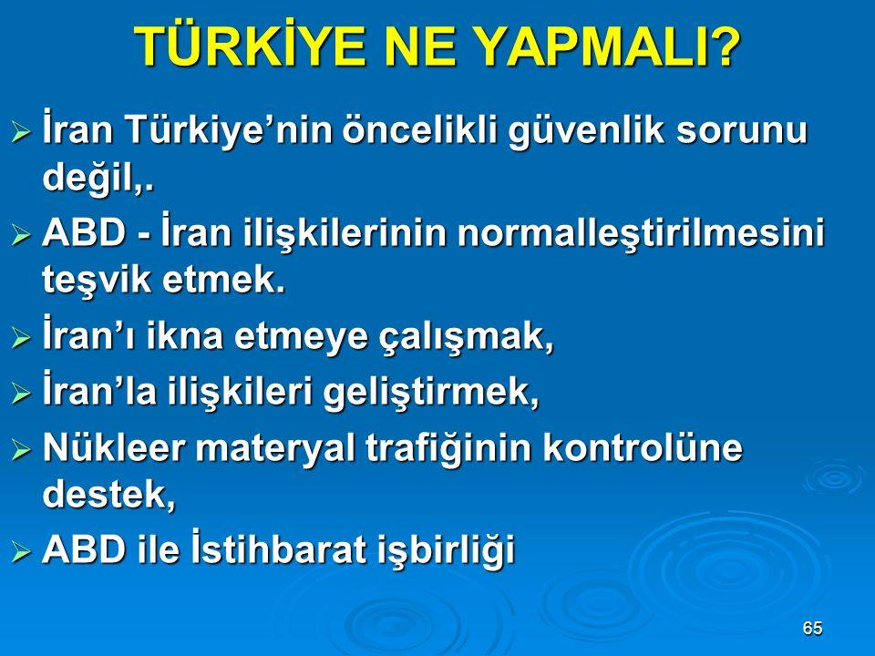 TÜRKİYE NE YAPMALI İran Türkiye'nin öncelikli güvenlik sorunu değil,.