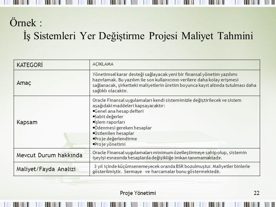 Örnek : İş Sistemleri Yer Değiştirme Projesi Maliyet Tahmini
