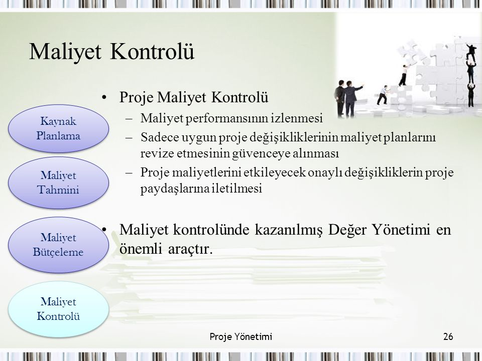 Maliyet Kontrolü Proje Maliyet Kontrolü