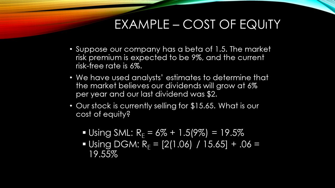Example – Cost of Equıty
