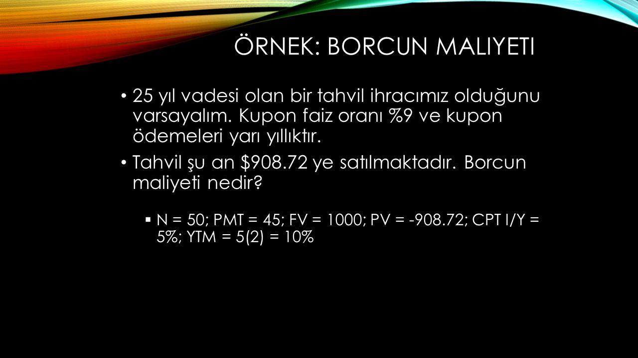 Örnek: borcun maliyeti