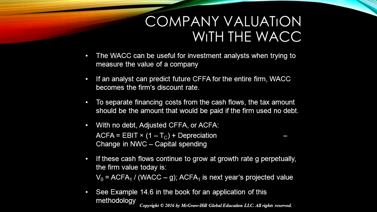 Company Valuatıon wıth the WACC