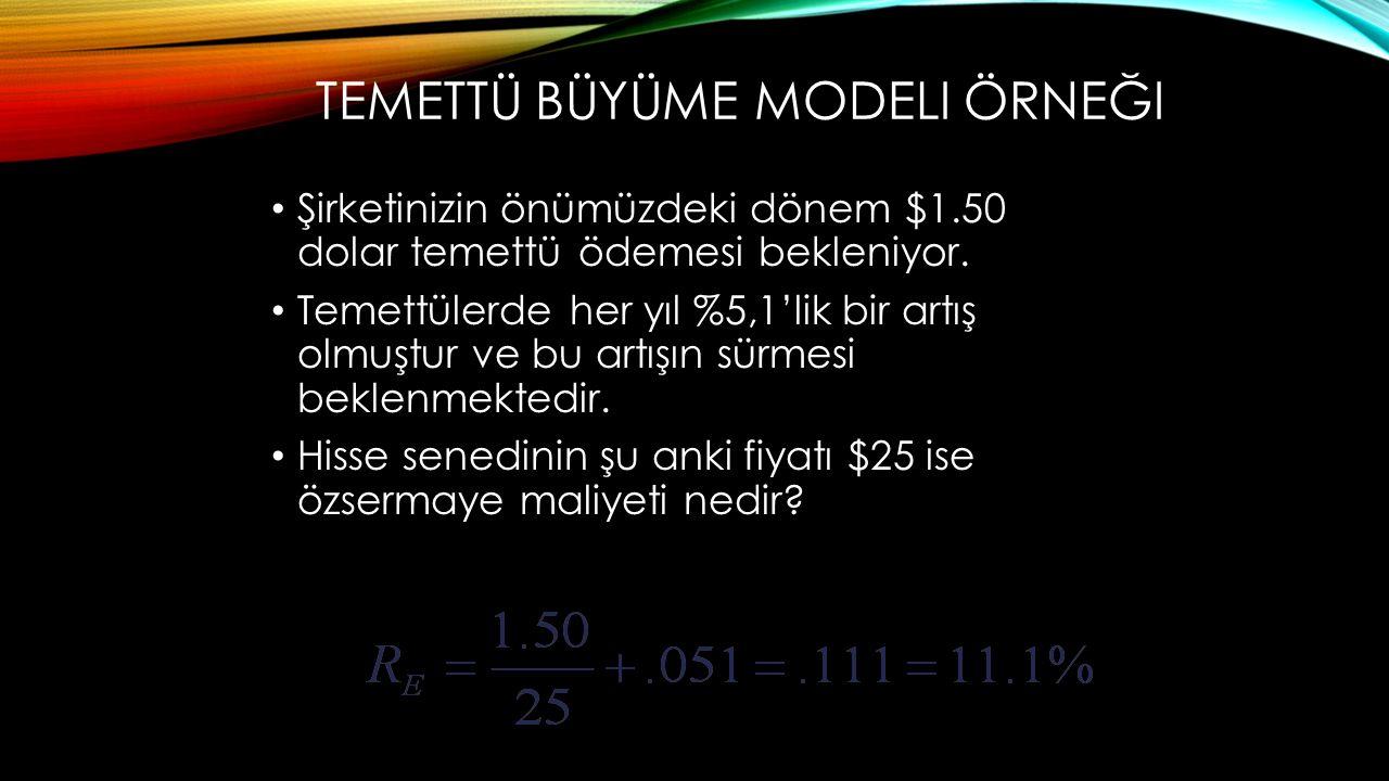 Temettü büyüme modeli örneği