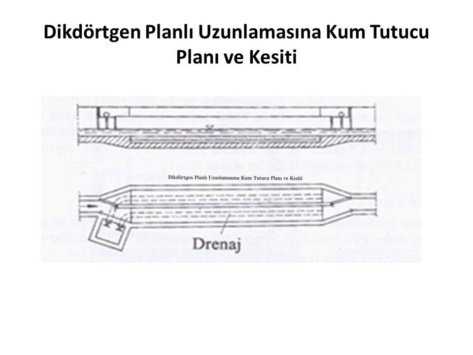 Dikdörtgen Planlı Uzunlamasına Kum Tutucu Planı ve Kesiti