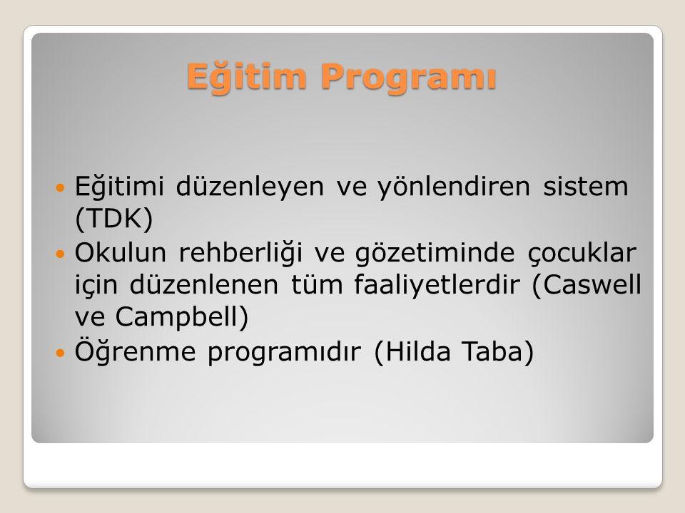 Eğitim Programı Eğitimi düzenleyen ve yönlendiren sistem (TDK)