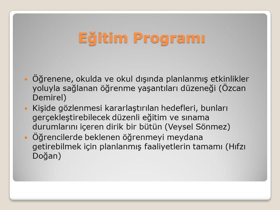 Eğitim Programı Öğrenene, okulda ve okul dışında planlanmış etkinlikler yoluyla sağlanan öğrenme yaşantıları düzeneği (Özcan Demirel)