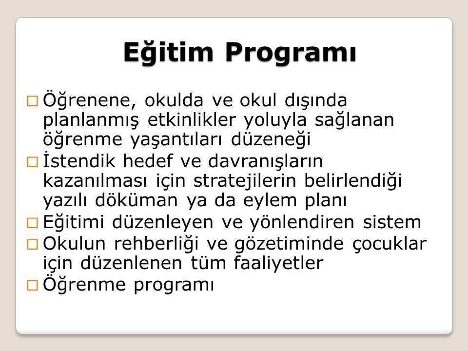 Eğitim Programı Öğrenene, okulda ve okul dışında planlanmış etkinlikler yoluyla sağlanan öğrenme yaşantıları düzeneği.