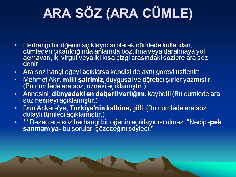 ARA SÖZ (ARA CÜMLE)