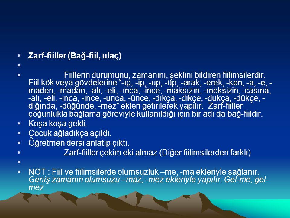 Zarf-fiiller (Bağ-fiil, ulaç)