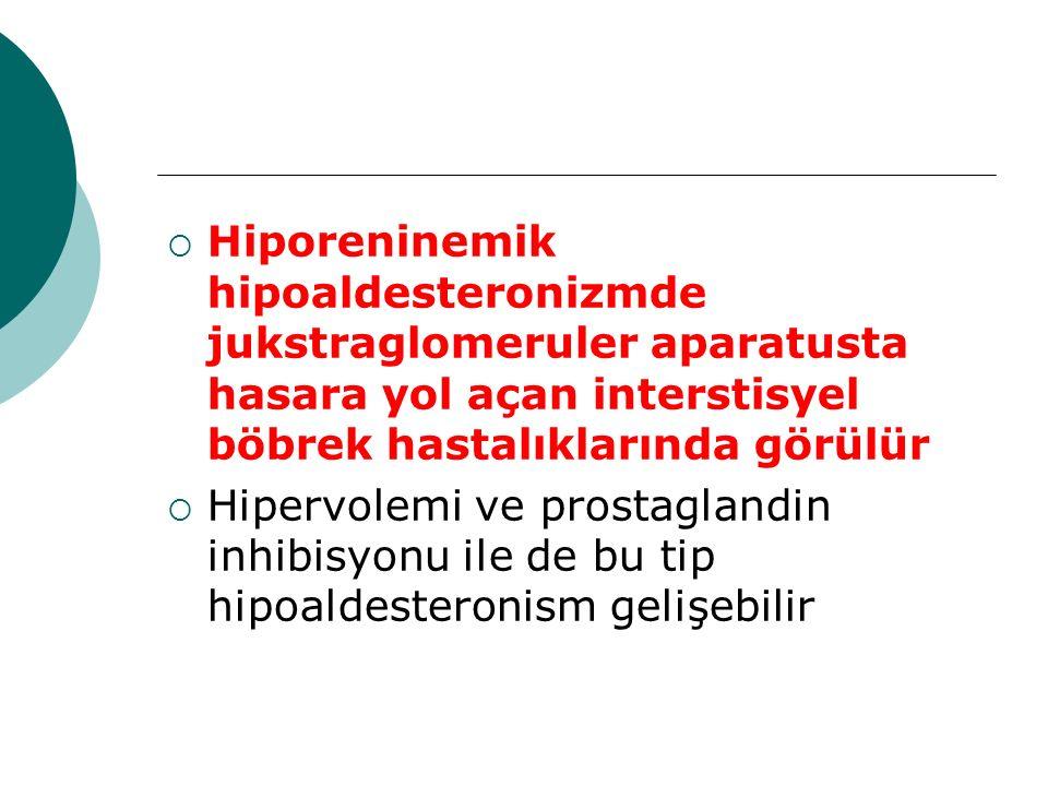 Hiporeninemik hipoaldesteronizmde jukstraglomeruler aparatusta hasara yol açan interstisyel böbrek hastalıklarında görülür