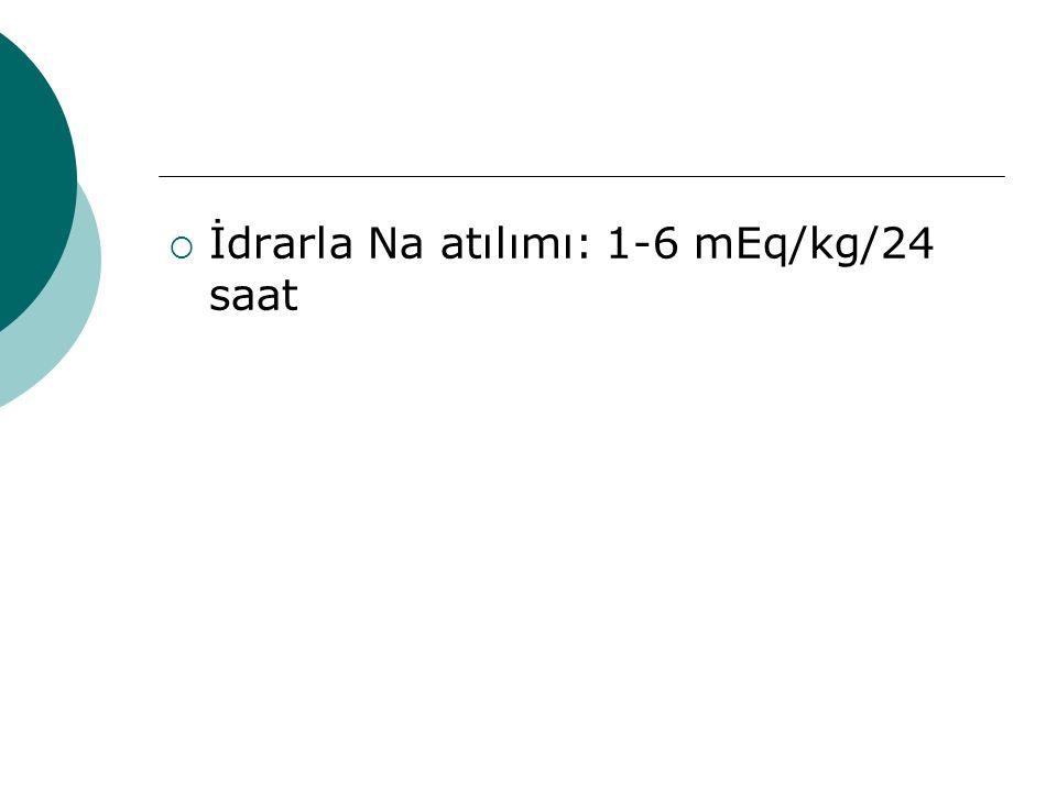 İdrarla Na atılımı: 1-6 mEq/kg/24 saat