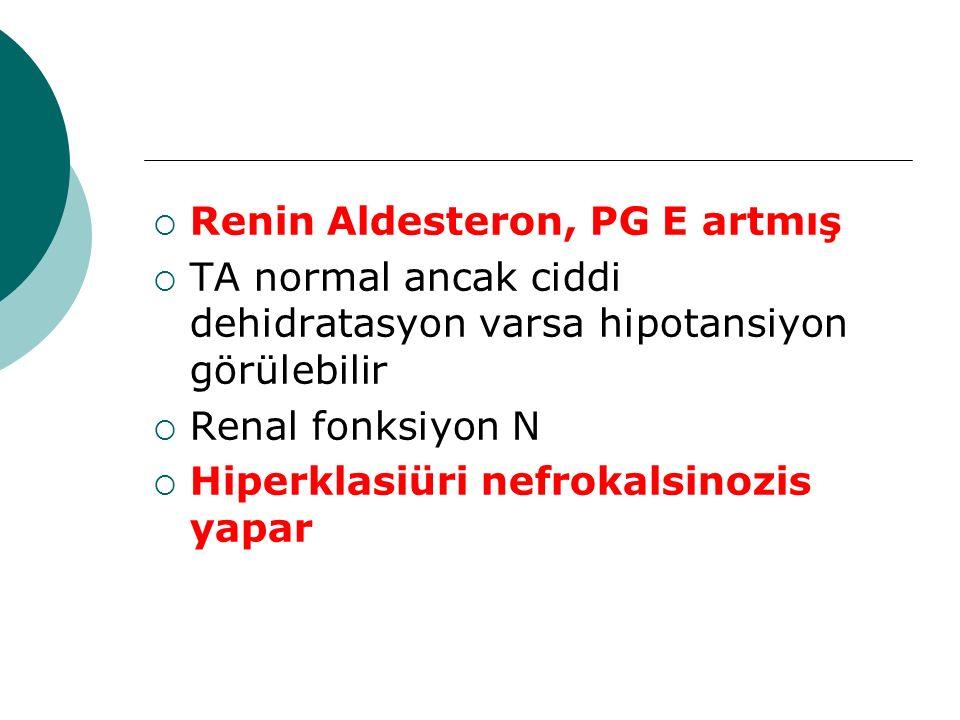 Renin Aldesteron, PG E artmış