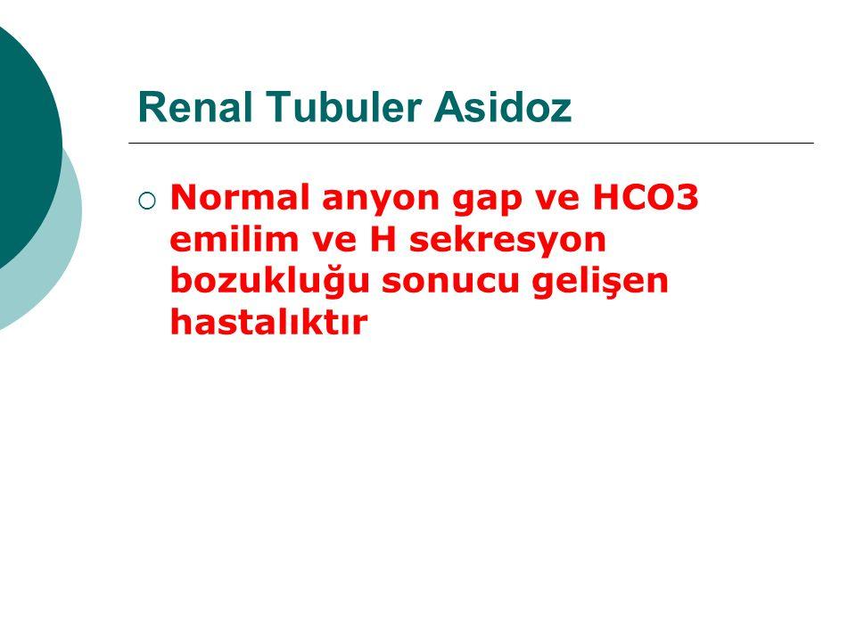 Renal Tubuler Asidoz Normal anyon gap ve HCO3 emilim ve H sekresyon bozukluğu sonucu gelişen hastalıktır.