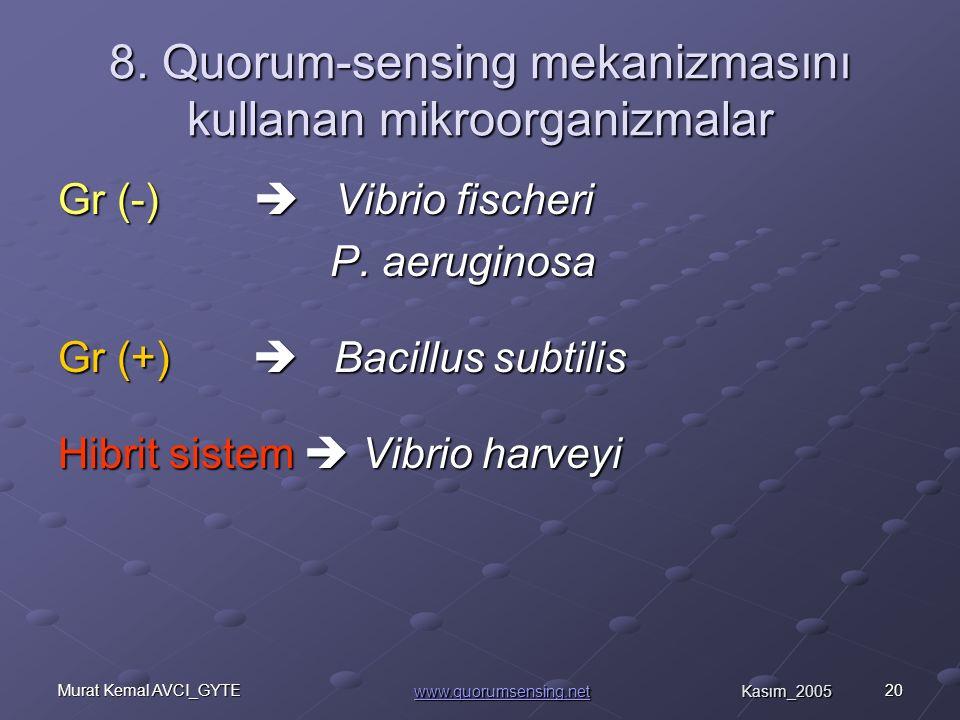 8. Quorum-sensing mekanizmasını kullanan mikroorganizmalar