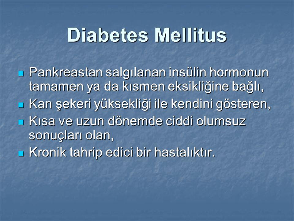 Diabetes Mellitus Pankreastan salgılanan insülin hormonun tamamen ya da kısmen eksikliğine bağlı, Kan şekeri yüksekliği ile kendini gösteren,