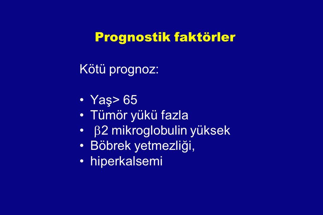 Prognostik faktörler Kötü prognoz: Yaş> 65. Tümör yükü fazla. b2 mikroglobulin yüksek. Böbrek yetmezliği,