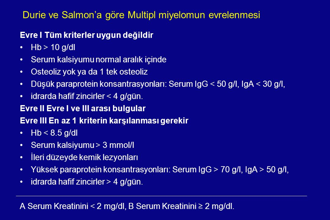Durie ve Salmon'a göre Multipl miyelomun evrelenmesi