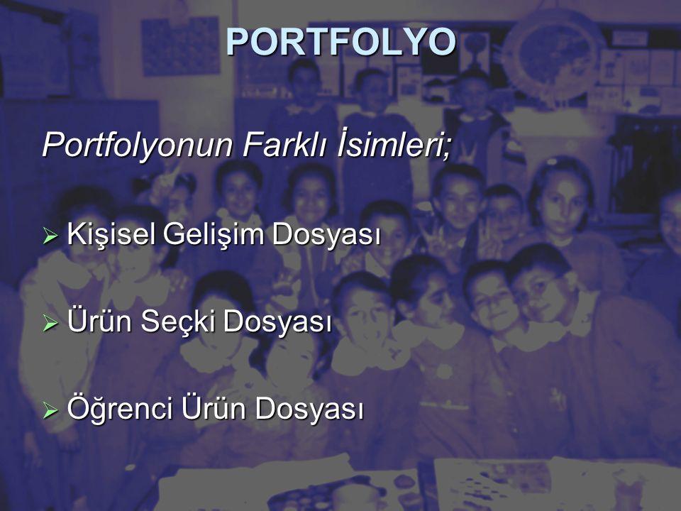 PORTFOLYO Portfolyonun Farklı İsimleri; Kişisel Gelişim Dosyası