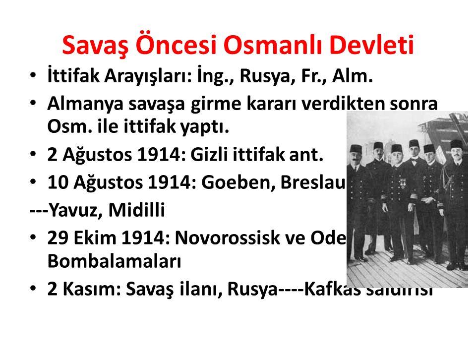 Savaş Öncesi Osmanlı Devleti