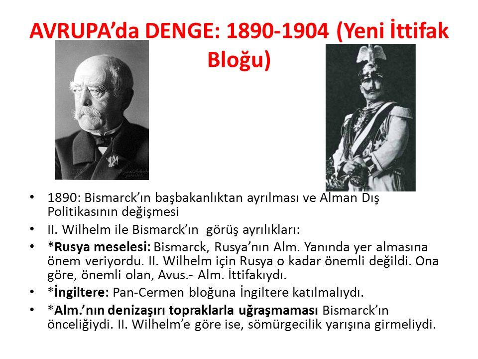 AVRUPA'da DENGE: 1890-1904 (Yeni İttifak Bloğu)